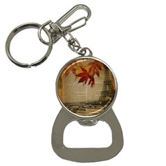 Elegant Fall Autumn Leaves Vintage Paris Eiffel Tower Landscape Bottle Opener Key Chain