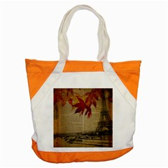 Elegant Fall Autumn Leaves Vintage Paris Eiffel Tower Landscape Accent Tote Bag