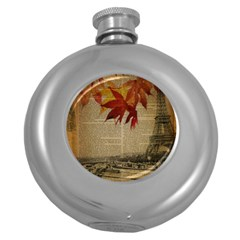 Elegant Fall Autumn Leaves Vintage Paris Eiffel Tower Landscape Hip Flask (Round)
