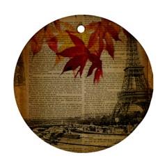Elegant Fall Autumn Leaves Vintage Paris Eiffel Tower Landscape Round Ornament (Two Sides)