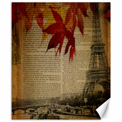 Elegant Fall Autumn Leaves Vintage Paris Eiffel Tower Landscape Canvas 8  x 10  (Unframed)