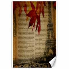 Elegant Fall Autumn Leaves Vintage Paris Eiffel Tower Landscape Canvas 12  x 18  (Unframed)