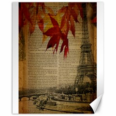 Elegant Fall Autumn Leaves Vintage Paris Eiffel Tower Landscape Canvas 16  X 20  (unframed)