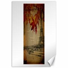 Elegant Fall Autumn Leaves Vintage Paris Eiffel Tower Landscape Canvas 24  x 36  (Unframed)