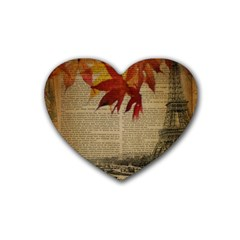 Elegant Fall Autumn Leaves Vintage Paris Eiffel Tower Landscape Drink Coasters (Heart)