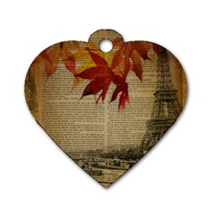Elegant Fall Autumn Leaves Vintage Paris Eiffel Tower Landscape Dog Tag Heart (two Sided)
