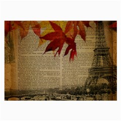 Elegant Fall Autumn Leaves Vintage Paris Eiffel Tower Landscape Glasses Cloth (large, Two Sided)