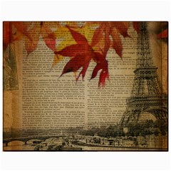 Elegant Fall Autumn Leaves Vintage Paris Eiffel Tower Landscape Canvas 11  x 14  (Unframed)