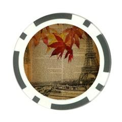 Elegant Fall Autumn Leaves Vintage Paris Eiffel Tower Landscape Poker Chip