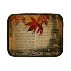 Elegant Fall Autumn Leaves Vintage Paris Eiffel Tower Landscape Netbook Case (small)