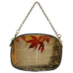 Elegant Fall Autumn Leaves Vintage Paris Eiffel Tower Landscape Chain Purse (two Sided)
