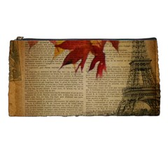 Elegant Fall Autumn Leaves Vintage Paris Eiffel Tower Landscape Pencil Case