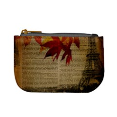 Elegant Fall Autumn Leaves Vintage Paris Eiffel Tower Landscape Coin Change Purse