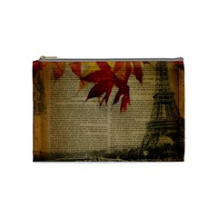 Elegant Fall Autumn Leaves Vintage Paris Eiffel Tower Landscape Cosmetic Bag (Medium)