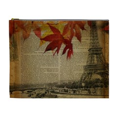 Elegant Fall Autumn Leaves Vintage Paris Eiffel Tower Landscape Cosmetic Bag (XL)