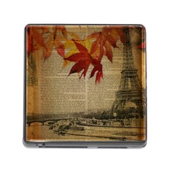 Elegant Fall Autumn Leaves Vintage Paris Eiffel Tower Landscape Memory Card Reader With Storage (square)
