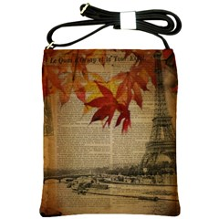 Elegant Fall Autumn Leaves Vintage Paris Eiffel Tower Landscape Shoulder Sling Bag