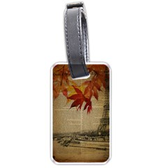 Elegant Fall Autumn Leaves Vintage Paris Eiffel Tower Landscape Luggage Tag (Two Sides)