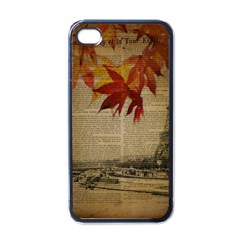 Elegant Fall Autumn Leaves Vintage Paris Eiffel Tower Landscape Apple iPhone 4 Case (Black)