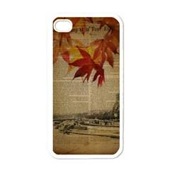 Elegant Fall Autumn Leaves Vintage Paris Eiffel Tower Landscape Apple Iphone 4 Case (white)
