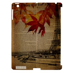 Elegant Fall Autumn Leaves Vintage Paris Eiffel Tower Landscape Apple iPad 3/4 Hardshell Case (Compatible with Smart Cover)
