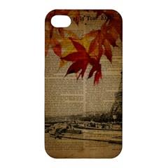 Elegant Fall Autumn Leaves Vintage Paris Eiffel Tower Landscape Apple Iphone 4/4s Premium Hardshell Case