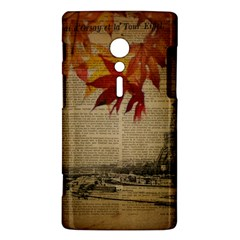 Elegant Fall Autumn Leaves Vintage Paris Eiffel Tower Landscape Sony Xperia ion Hardshell Case