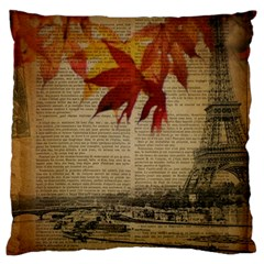 Elegant Fall Autumn Leaves Vintage Paris Eiffel Tower Landscape Large Cushion Case (Two Sided)