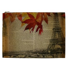 Elegant Fall Autumn Leaves Vintage Paris Eiffel Tower Landscape Cosmetic Bag (XXL)
