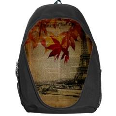 Elegant Fall Autumn Leaves Vintage Paris Eiffel Tower Landscape Backpack Bag