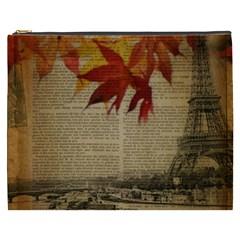 Elegant Fall Autumn Leaves Vintage Paris Eiffel Tower Landscape Cosmetic Bag (xxxl)