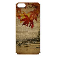 Elegant Fall Autumn Leaves Vintage Paris Eiffel Tower Landscape Apple iPhone 5 Seamless Case (White)