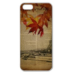 Elegant Fall Autumn Leaves Vintage Paris Eiffel Tower Landscape Apple Seamless Iphone 5 Case (clear)