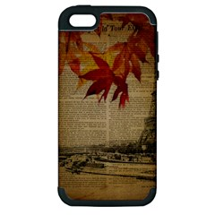 Elegant Fall Autumn Leaves Vintage Paris Eiffel Tower Landscape Apple iPhone 5 Hardshell Case (PC+Silicone)
