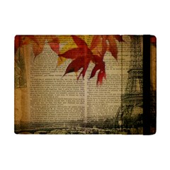 Elegant Fall Autumn Leaves Vintage Paris Eiffel Tower Landscape Apple Ipad Mini Flip Case