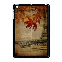 Elegant Fall Autumn Leaves Vintage Paris Eiffel Tower Landscape Apple Ipad Mini Case (black)