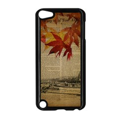 Elegant Fall Autumn Leaves Vintage Paris Eiffel Tower Landscape Apple iPod Touch 5 Case (Black)