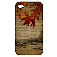 Elegant Fall Autumn Leaves Vintage Paris Eiffel Tower Landscape Apple iPhone 4/4S Hardshell Case (PC+Silicone)