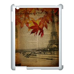 Elegant Fall Autumn Leaves Vintage Paris Eiffel Tower Landscape Apple iPad 3/4 Case (White)