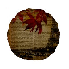 Elegant Fall Autumn Leaves Vintage Paris Eiffel Tower Landscape 15  Premium Round Cushion