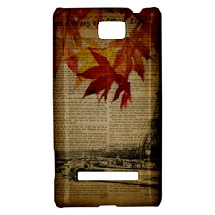 Elegant Fall Autumn Leaves Vintage Paris Eiffel Tower Landscape HTC 8S Hardshell Case