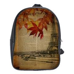 Elegant Fall Autumn Leaves Vintage Paris Eiffel Tower Landscape School Bag (xl)