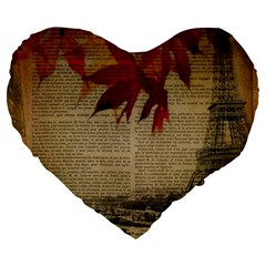 Elegant Fall Autumn Leaves Vintage Paris Eiffel Tower Landscape 19  Premium Heart Shape Cushion