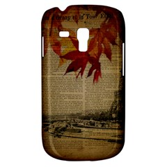 Elegant Fall Autumn Leaves Vintage Paris Eiffel Tower Landscape Samsung Galaxy S3 Mini I8190 Hardshell Case