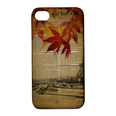 Elegant Fall Autumn Leaves Vintage Paris Eiffel Tower Landscape Apple iPhone 4/4S Hardshell Case with Stand
