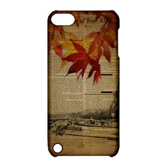 Elegant Fall Autumn Leaves Vintage Paris Eiffel Tower Landscape Apple iPod Touch 5 Hardshell Case with Stand