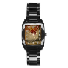 Elegant Fall Autumn Leaves Vintage Paris Eiffel Tower Landscape Men s Stainless Steel Barrel Analog Watch