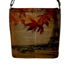 Elegant Fall Autumn Leaves Vintage Paris Eiffel Tower Landscape Flap Closure Messenger Bag (large)