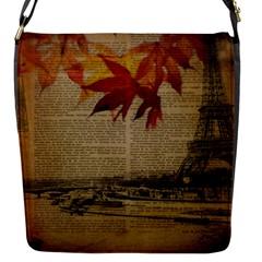 Elegant Fall Autumn Leaves Vintage Paris Eiffel Tower Landscape Removable Flap Cover (Small)