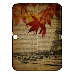 Elegant Fall Autumn Leaves Vintage Paris Eiffel Tower Landscape Samsung Galaxy Tab 3 (10 1 ) P5200 Hardshell Case